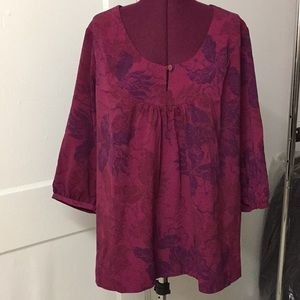 Flower Print 3/4 Sleeve Dress Blouse. Size 1X